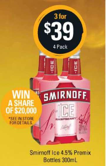 Cellarbrations Smirnoff Ice 4.5% Premix Bottles