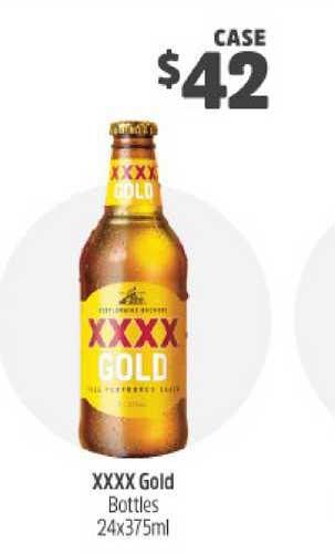BWS XXXX Gold Bottles 24x375ml