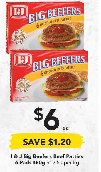 Drakes I & J Big Beefers Beef Patties 6 Pack 480g
