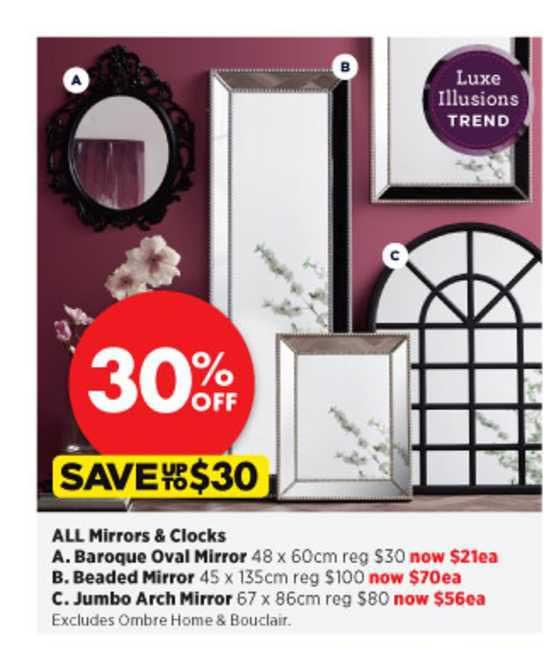 Spotlight All Mirrors & Clocks , Baroque Oval Mirror , Beaded Mirror , Jumbo Arch Mirror
