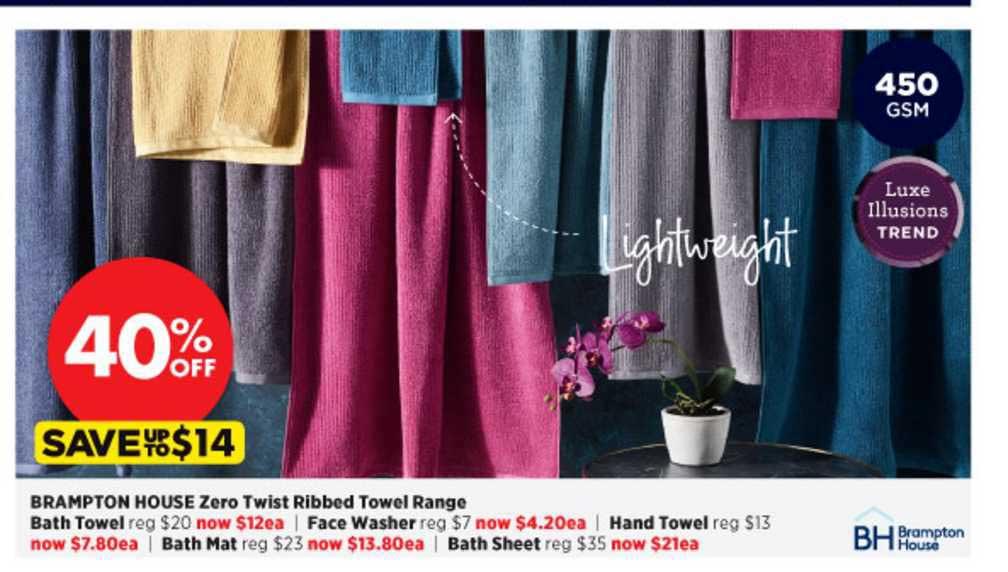 Spotlight Brampton House Zero Twist Ribbed Towel Range