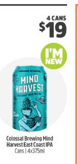 BWS Colossal Brewing Mind Harvest East Coast IPA Cans