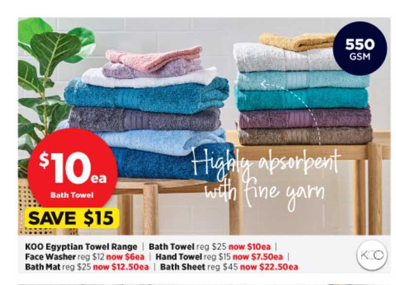 Spotlight KOO Egyptian Towel Range , Face Washer , Bath Mat , Bath Towel , Hand Towel , Bath Sheet