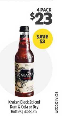BWS Kraken Black Spiced Rum & Cola Dry Bottles
