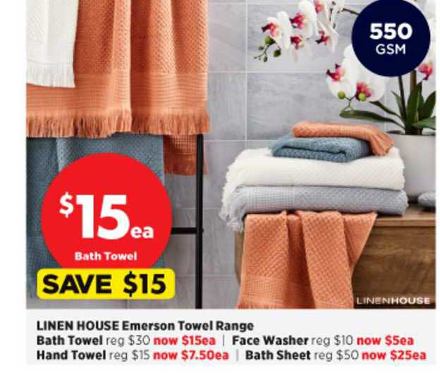 Spotlight Linen House Emerson Towel Range