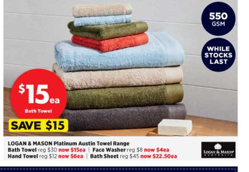 Spotlight Logan & Mason Platinum Austin Towel Range