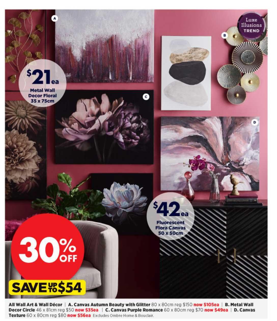 Spotlight Metal Wall Decor Floral 35 X 75 Cm , Fluorescent Flora Canvas 50 X 50cm