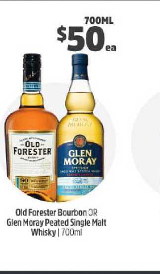 BWS Old Forester Bourbon Or Glen Moray Peated Single Malt Whisky