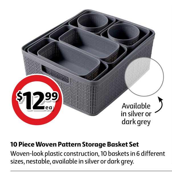 Coles 10 Piece Woven Pattern Storage Basket Set
