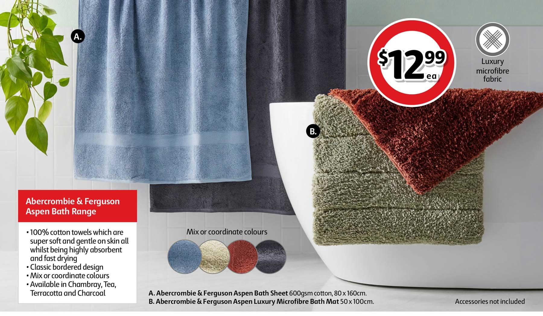 Coles Abercrombie & Ferguson Aspen Bath Sheet 80 X 160cm Or Abercrombie & Ferguson Aspen Luxury Microfibre Bath Math 50 X 100cm