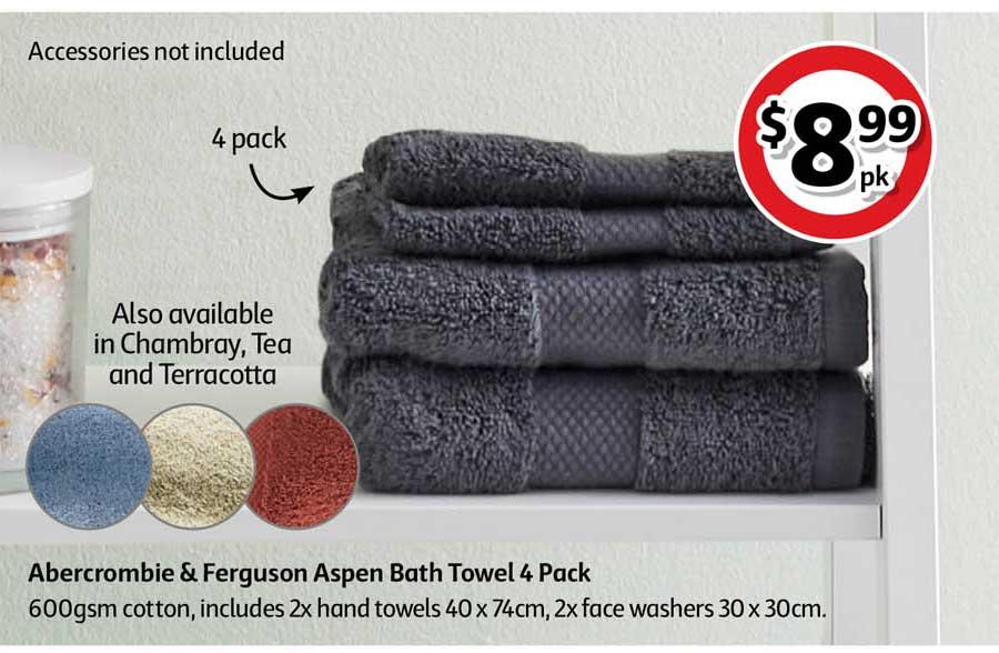 Coles Abercrombie & Ferguson Aspen Bath Towel 4 Pack