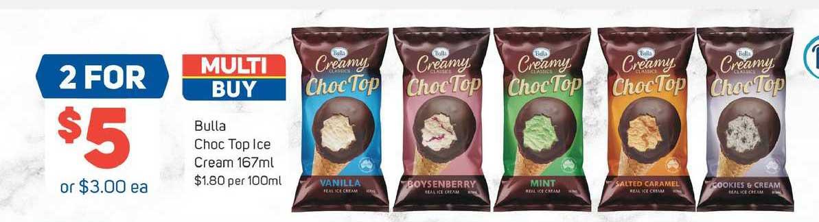 Foodland Bulla Choc Top Ice Cream 167ml