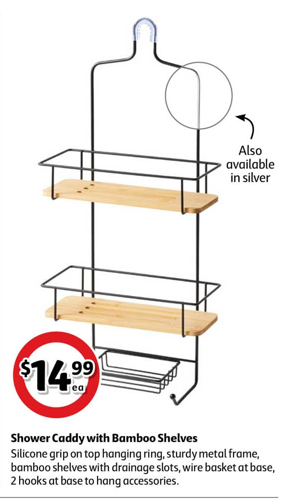 Coles Shower Caddy With Bamboo Shelves