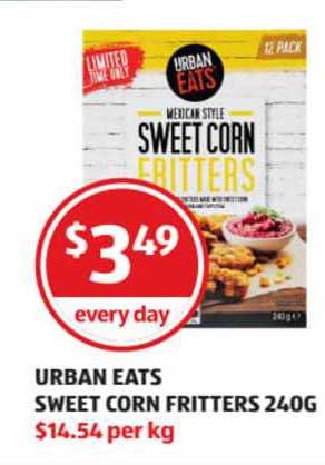 ALDI Urban Eats Sweet Corn Fritters 240g