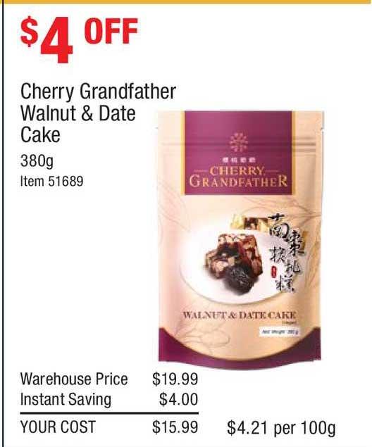 Costco Cherry Grandfather Walnut & Date Cake