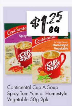 The Reject Shop Continental Cup A Soup Spicy Tom Yum Or Homestyle Vegetable 50g 2pk