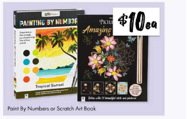 The Reject Shop Paint By Numbers Or Scratch Art Book