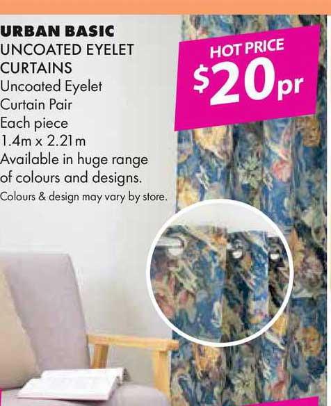 Lincraft Urban Basic Uncoated Eyelet Curtains