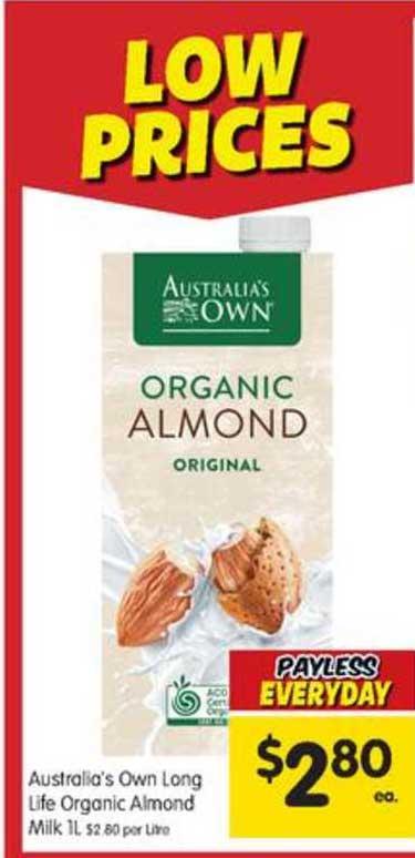 SPAR Australia's Own Long Life Organic Almond Milk 1l