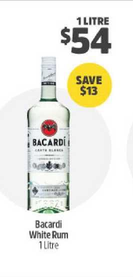 BWS Bacardi White Rum 1 Litre