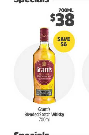 BWS Grant's Blended Scotch Whisky 700ml