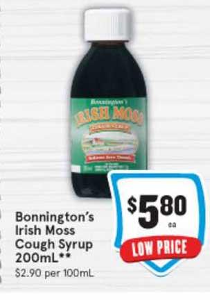IGA Bonnington's Irish Moss Cough Syrup 200mL
