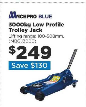 Repco Mechpro Blue 3000kg Low Profile Trolley Jack