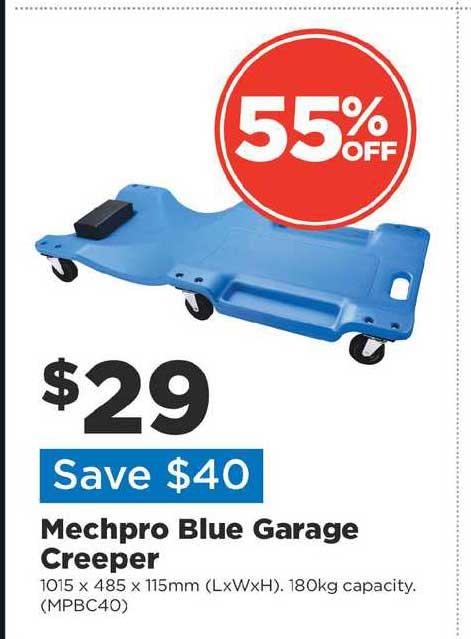 Repco Mechpro Blue Garage Creeper