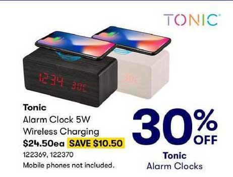 BIG W Tonic Alarm Clock 5W Wireless Charging 30% Off