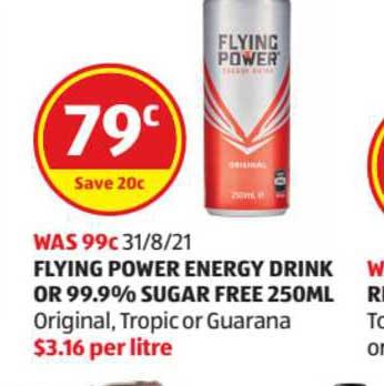 ALDI Flying Power Energy Drink Or 99.9% Sugar Free