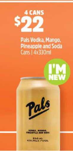 BWS Pals Vodka Mango Pine&apple And Soda