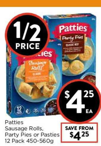 FoodWorks Patties Sausage Rolls Party Pies Or Pasties