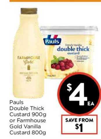 FoodWorks Pauls Double Thick Custar Or Farmhouse Gold Vanilla Custard