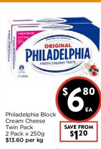 FoodWorks Philadelphia Block Cream Cheese Twin Pack