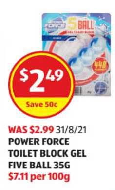 ALDI Power Force Toilet Block Gel Five Ball