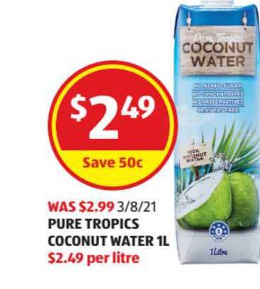 ALDI Pure Tropics Coconut Water 1l