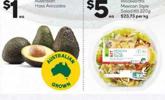 Woolworths Australian Hass Avocados Woolworths Mexican Style Salad Kit