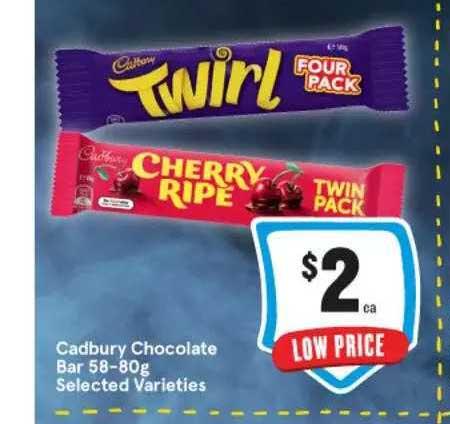 IGA Cadbury Chocolate Bar Selected Varieties
