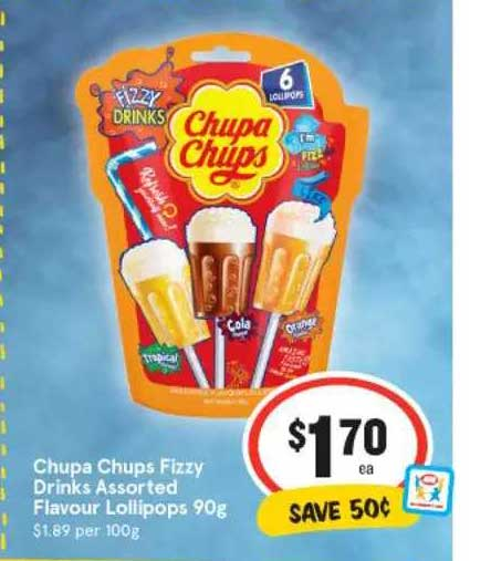 IGA Chupa Chups Fizzy Drinks Assorted Flavour Lollipops