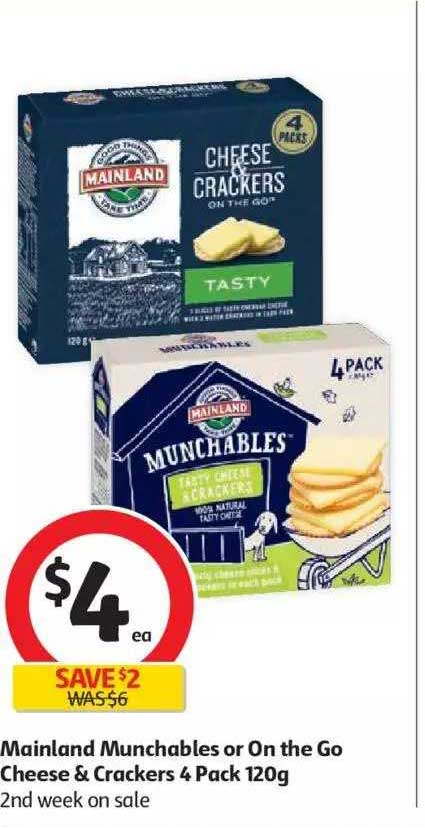 Coles Mainland Munchables Or On The Go Cheese & Crackers 4 Pack