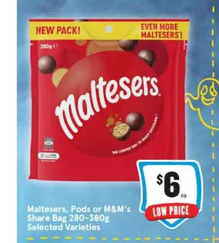 IGA Maltesers Pods Or M&m's Share Bag Selected Varieties
