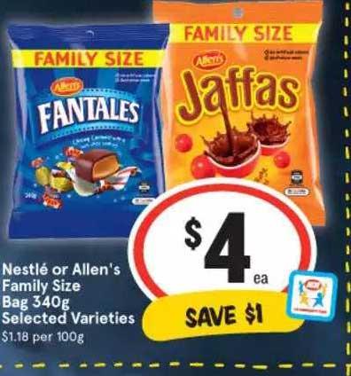 IGA Nestlé Or Allen's Family Size Bag Selected Varieties