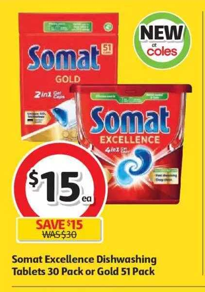 Coles Somat Excellence Dishwashing Tablets 30 Pack Or Gold 51 Pack
