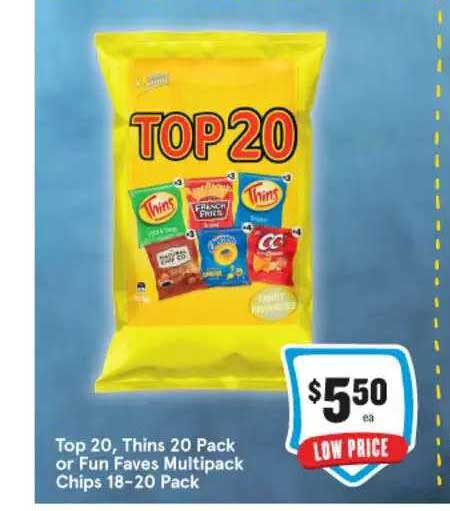 IGA Top 20 Thins 20 Pack Or Fun Faves Multipack Chips