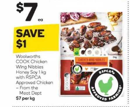 Woolworths Woolworths Cook Chicken Wing Nibbles Honey Soy With Rspca Approved Chicken