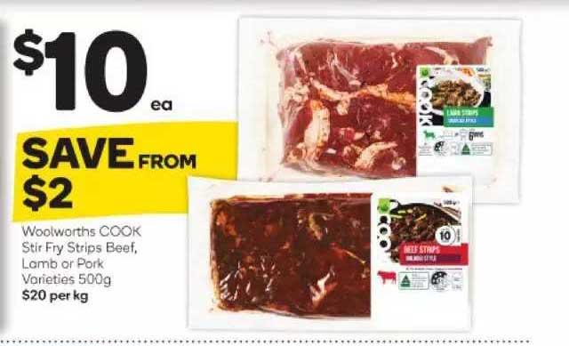 Woolworths Woolworths Cook Stir Fry Strips Beef Lamb Or Pork Varieties