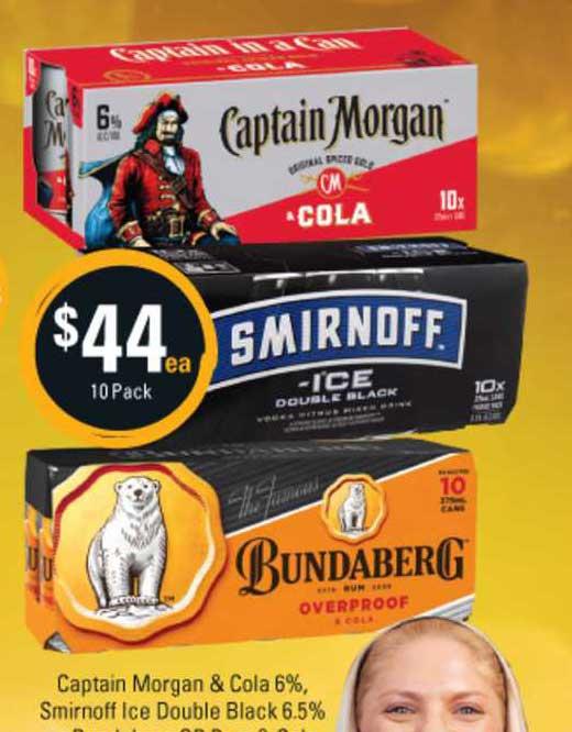 Cellarbrations Captain Morgan & Cola 6% Smirnoff Ice Double Black 6.5%