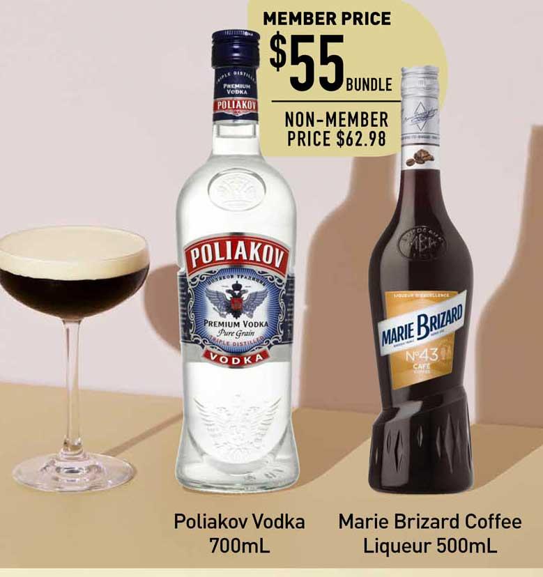 Dan Murphy's Poliakov Vodka 700mL, Marie Brizard Coffee Liqueur 500mL