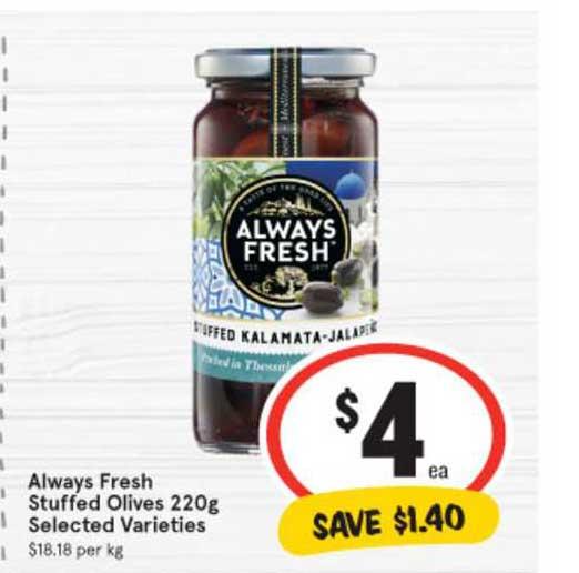 IGA Always Fresh Stuffed Olives 220g