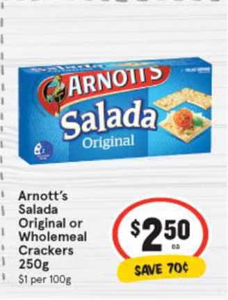 IGA Arnott's Salada Original Or Wholemeal Crackers 250g